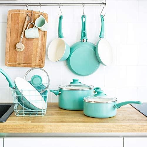 51lbErR3g7L. AC  - GreenLife Soft Grip 16pc Ceramic Non-Stick Cookware Set, Turquoise - CC001007-001