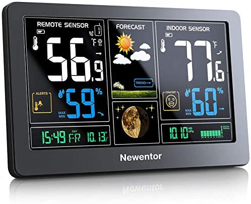 51qOqADhzL. AC  - Newentor Weather Station Wireless Indoor Outdoor Thermometer, Color Display Digital Weather Thermometer with Atomic Clock, Forecast Station with Calendar and Adjustable Backlight