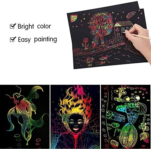 51qVZQFOj4L. AC  - ZMLM Scratch Paper Art Set, 50 Piece Rainbow Magic Scratch Paper for Kids Black Scratch it Off Art Crafts Notes Boards Sheet with 5 Wooden Stylus for Easter Party GameChristmas Birthday Gift