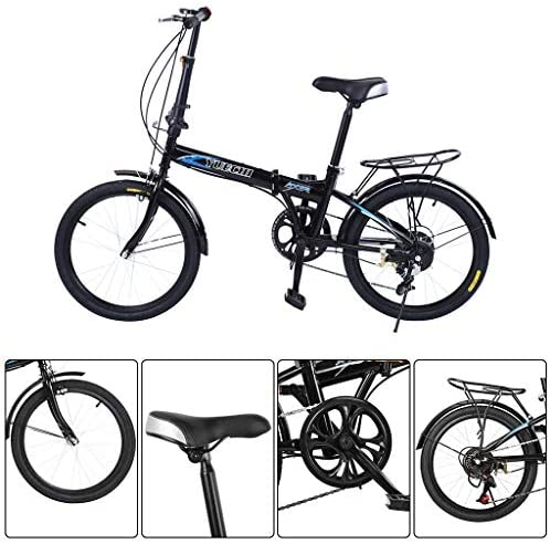 51xE0frFjSL. AC  - Leisure 20in 7 Speed ​​City Folding Mini Compact Bike Bicycle Urban Commuter with Back Rack