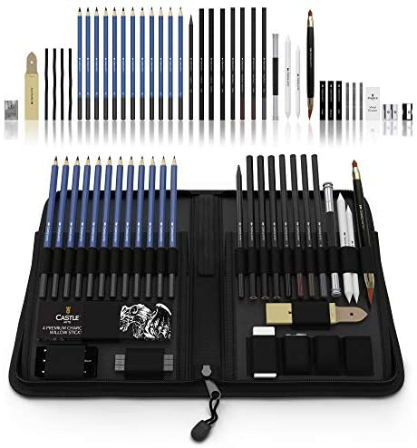 51z1ZrI76CL. AC  - Castle Art Supplies Graphite Drawing Pencils and Sketch Set (40-Piece Kit), Complete Artist Kit Includes Charcoals, Pastels and Zippered Carry Case, Includes Rare Pop-Up Stand