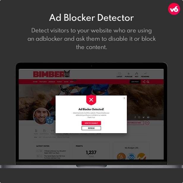 6 adblocker detector - Bimber - Viral Magazine WordPress Theme