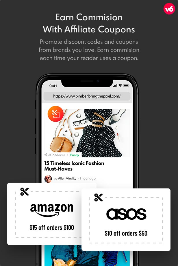 6 coupons - Bimber - Viral Magazine WordPress Theme