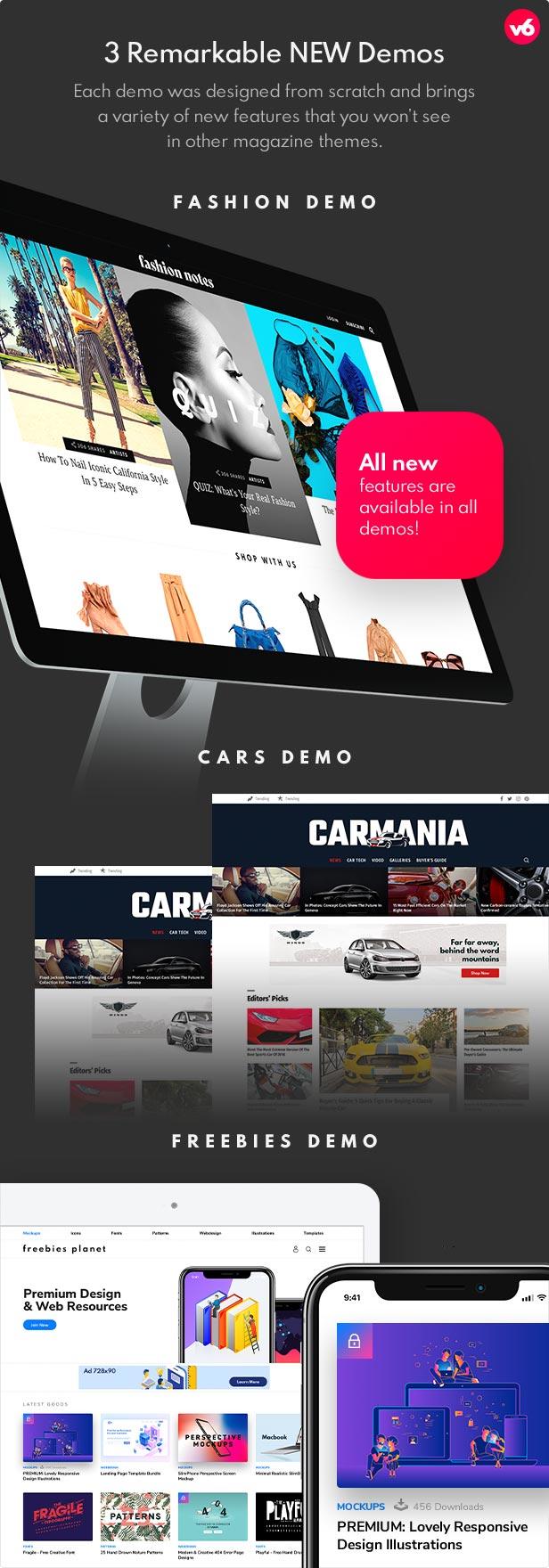 6 demos - Bimber - Viral Magazine WordPress Theme