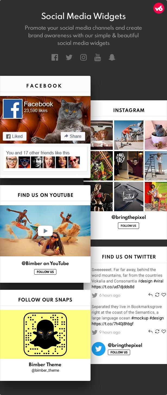 6 social widgets - Bimber - Viral Magazine WordPress Theme