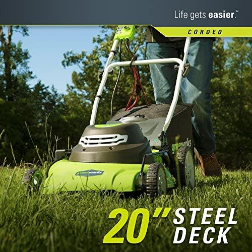61U aE31nmL. AC  - Greenworks 20-Inch 3-in-1 12 Amp Electric Corded Lawn Mower 25022