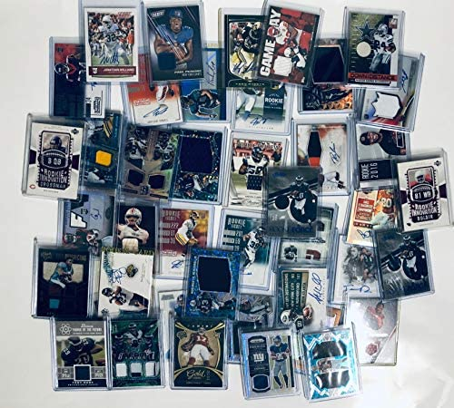 61XCmHOdzJL. AC  - NFL Football Card Relic Game Used Jersey Autograph Hit Lot with 10 Relic Autograph or Jersey Cards Per Lot Perfect Party Favor or for NFL Collector or Fanatic Football Fan Every Lot is Unique