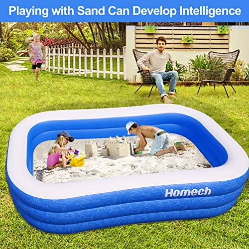 """61f3i5jX9qL. AC  - Homech Family Inflatable Swimming Pool, 120"""" X 72"""" X 22"""" Full-Sized Inflatable Lounge Pool for Baby, Kiddie, Kids, Adult, Infant, Toddlers for Ages 3+,Outdoor, Garden, Backyard, Summer Water Party"""