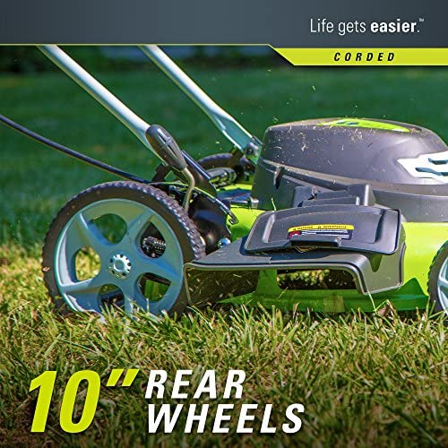 61yd7OqnFoL. AC  - Greenworks 20-Inch 3-in-1 12 Amp Electric Corded Lawn Mower 25022