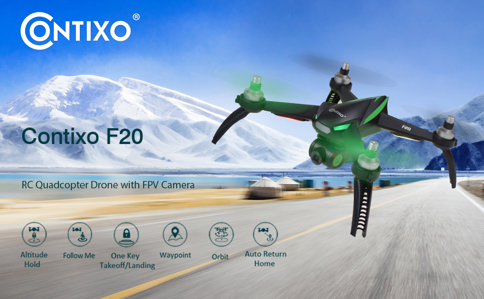 666b28d3 6418 4fb9 a70a 24e1560fc933.  CR0,0,970,600 PT0 SX970 V1    - Contixo F20 GPS RC Quadcopter Photography Drone with Camera for Adults - 5GHz WiFi 1080P FHD Gimbal Camera - 20 Minutes Flight Time - 4 Brushless Motors with 90° Adjustable Camera for Advanced Selfie