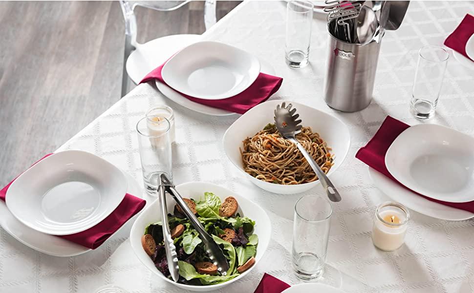 6858d812 ea9c 412f bc1f 165bddb8ef08.  CR0,0,2021,1250 PT0 SX970 V1    - Stainless Steel Kitchen Utensil Set - 10 piece premium Non-Stick & Heat Resistant Kitchen Gadgets, Turner, Spaghetti Server, Ladle, Serving Spoons, Whisk, Tungs, Potato Masher and Utensil Holder