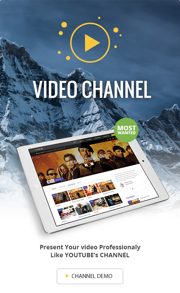 Banner Channel truemag - True Mag - WordPress Theme for Video and Magazine
