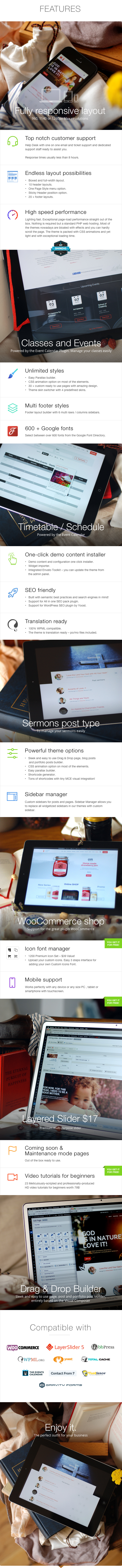 Features - Church  - WordPress