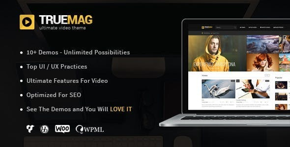 Truemag Preview.  large preview - True Mag - WordPress Theme for Video and Magazine
