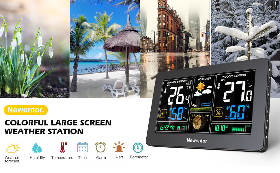 a61ea64b f86f 4a1e 9f8a f664b7a23b17.  CR0,0,970,600 PT0 SX970 V1    - Newentor Weather Station Wireless Indoor Outdoor Thermometer, Color Display Digital Weather Thermometer with Atomic Clock, Forecast Station with Calendar and Adjustable Backlight