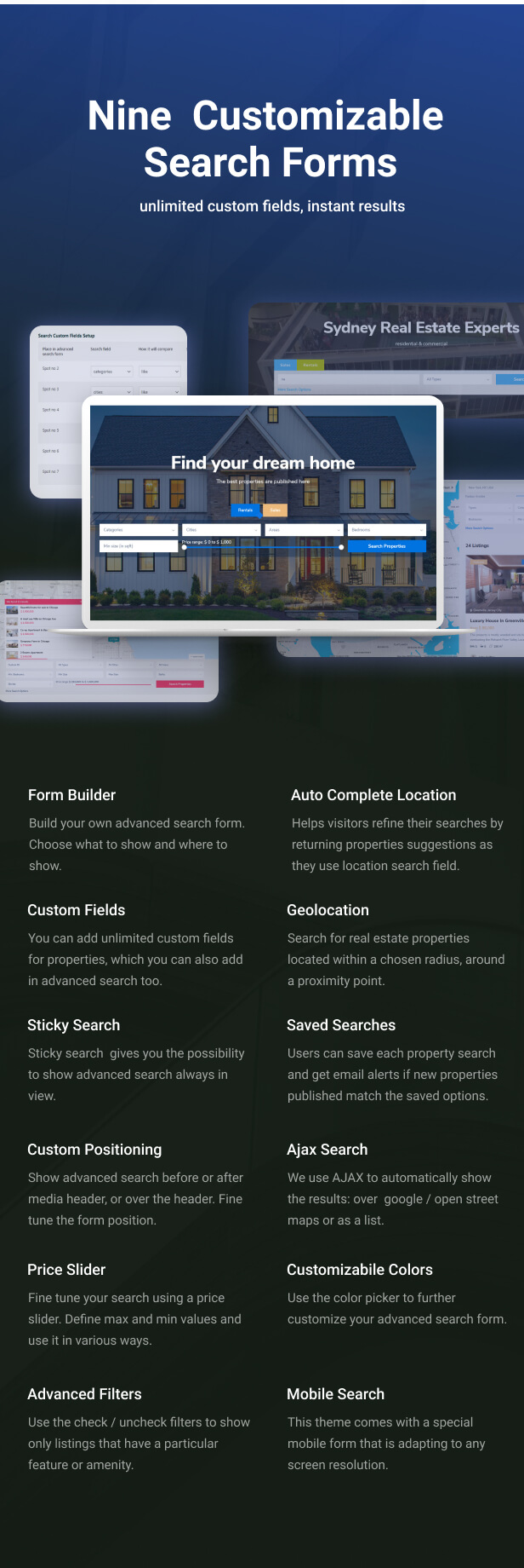 advanced search - Residence Real Estate WordPress Theme