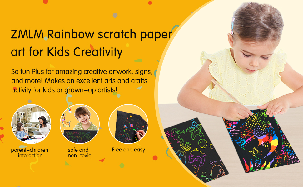afa03154 c870 4562 b949 a4c04199f4be.  CR0,0,970,600 PT0 SX970 V1    - ZMLM Scratch Paper Art Set, 50 Piece Rainbow Magic Scratch Paper for Kids Black Scratch it Off Art Crafts Notes Boards Sheet with 5 Wooden Stylus for Easter Party Game Christmas Birthday Gift