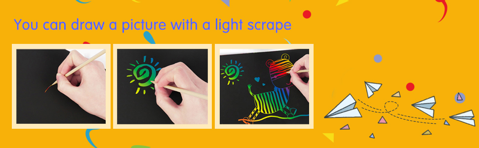 b1dcdb28 e80f 4291 96cb d216070cd6e3.  CR0,0,970,300 PT0 SX970 V1    - ZMLM Scratch Paper Art Set, 50 Piece Rainbow Magic Scratch Paper for Kids Black Scratch it Off Art Crafts Notes Boards Sheet with 5 Wooden Stylus for Easter Party Game Christmas Birthday Gift