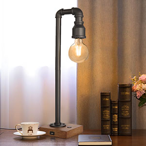 bbf4e6bb fad1 4678 bd50 0ead418442d5.  CR0,0,300,300 PT0 SX300 V1    - Industrial Table Lamp with USB Charging Port, 3 Way Dimmable Touch Control Bedside Lamp Water Pipe Steampunk Lamp Iron Vintage Nightstand Lamp for Living Room, Bedroom, Office, 6W LED Bulb Included