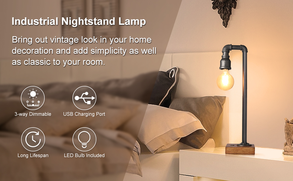 c79ba99d a70f 419c 8f50 2dfe93296483.  CR0,0,970,600 PT0 SX970 V1    - Industrial Table Lamp with USB Charging Port, 3 Way Dimmable Touch Control Bedside Lamp Water Pipe Steampunk Lamp Iron Vintage Nightstand Lamp for Living Room, Bedroom, Office, 6W LED Bulb Included