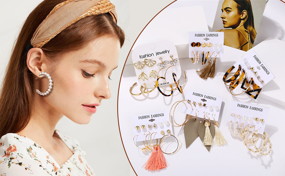 cbebf0b0 6831 4b7f ace4 e71f726bf947.  CR0,0,970,600 PT0 SX970 V1    - 36 Pairs Fashion Tassel Earrings Set for Women Girls Bohemian Acrylic Hoop Stud Drop Dangle Earring Leather Leaf Earrings for Birthday/Party/Christmas/Friendship Gifts