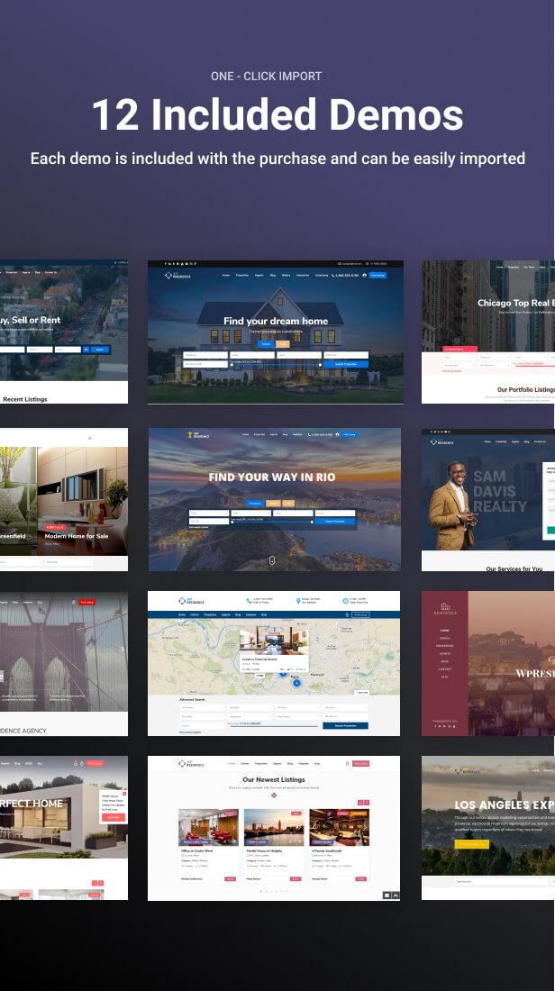 demos - Residence Real Estate WordPress Theme