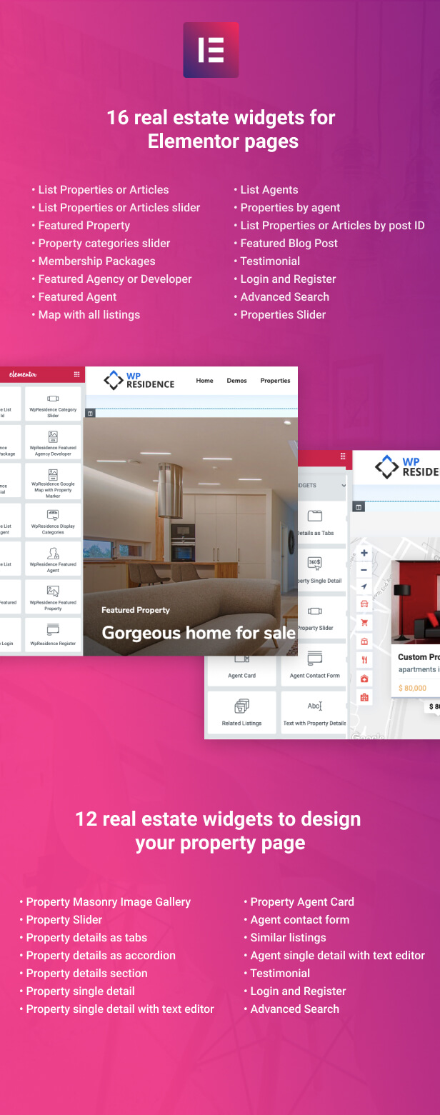 elementor - Residence Real Estate WordPress Theme