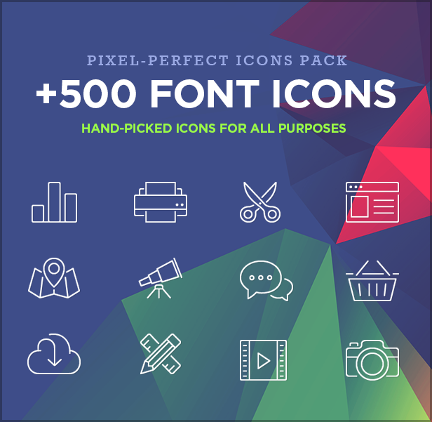 font icons - FLATPACK – Landing Pages Pack With Page Builder