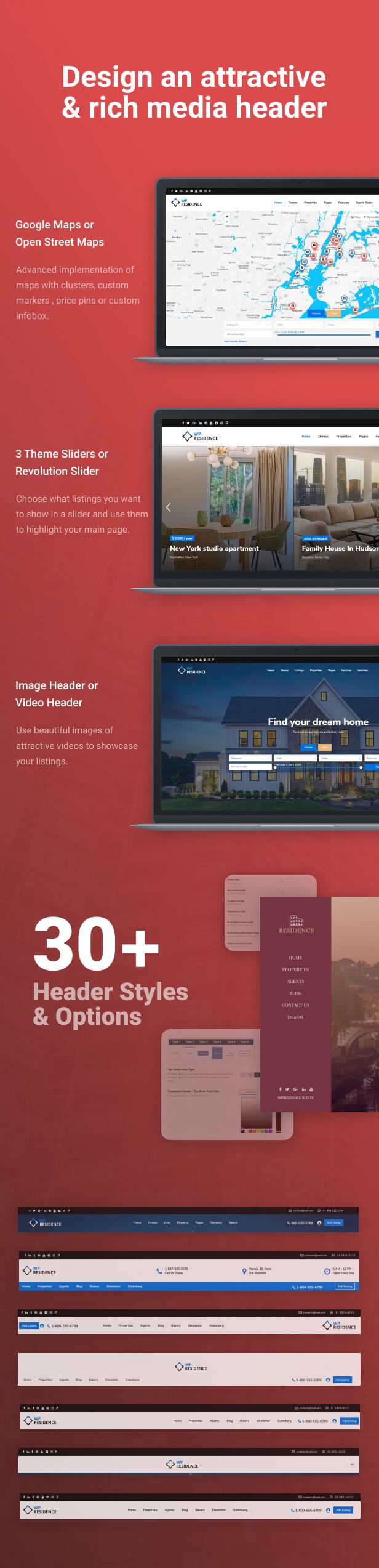 header options - Residence Real Estate WordPress Theme