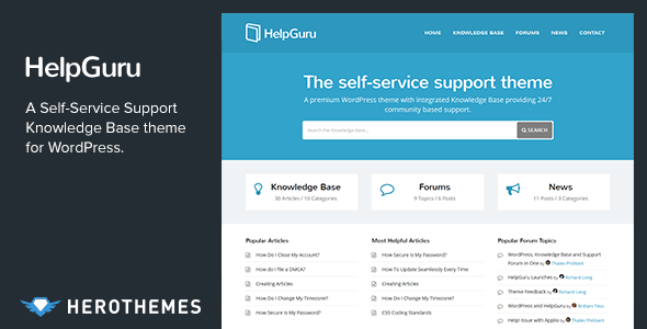 helpguru.  large preview - KnowHow - A Knowledge Base WordPress Theme