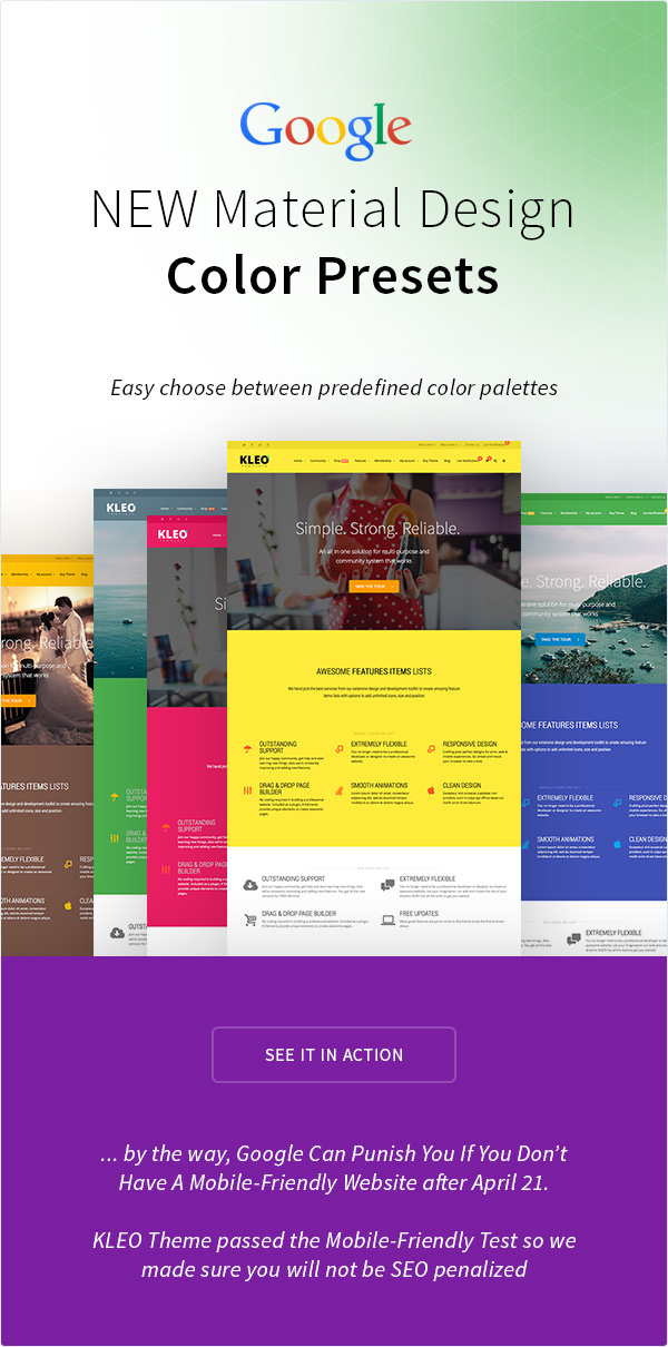 kleo features page color pressets - KLEO - Pro Community Focused, Multi-Purpose BuddyPress Theme