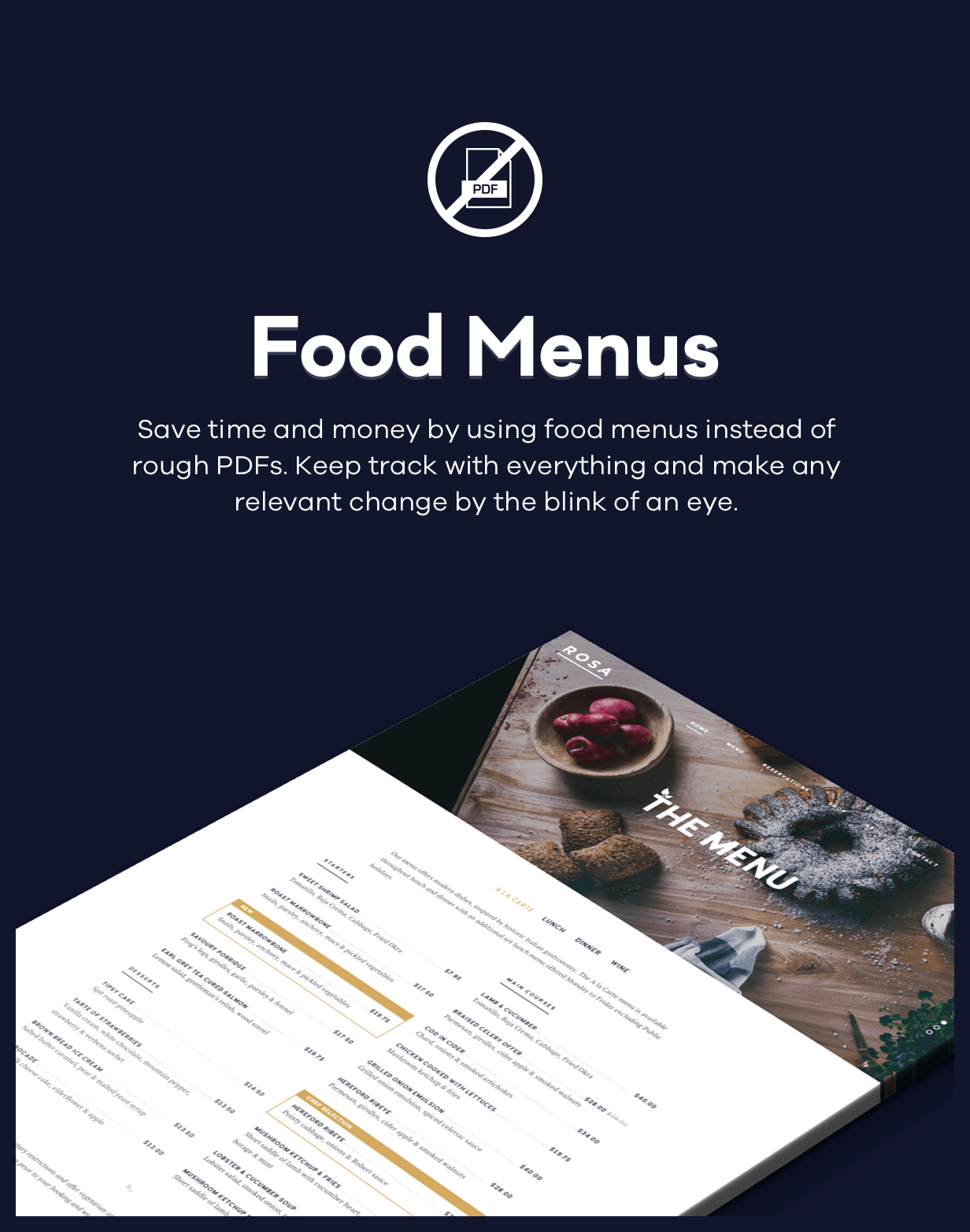 rosa food menus - ROSA 1 - An Exquisite Restaurant WordPress Theme