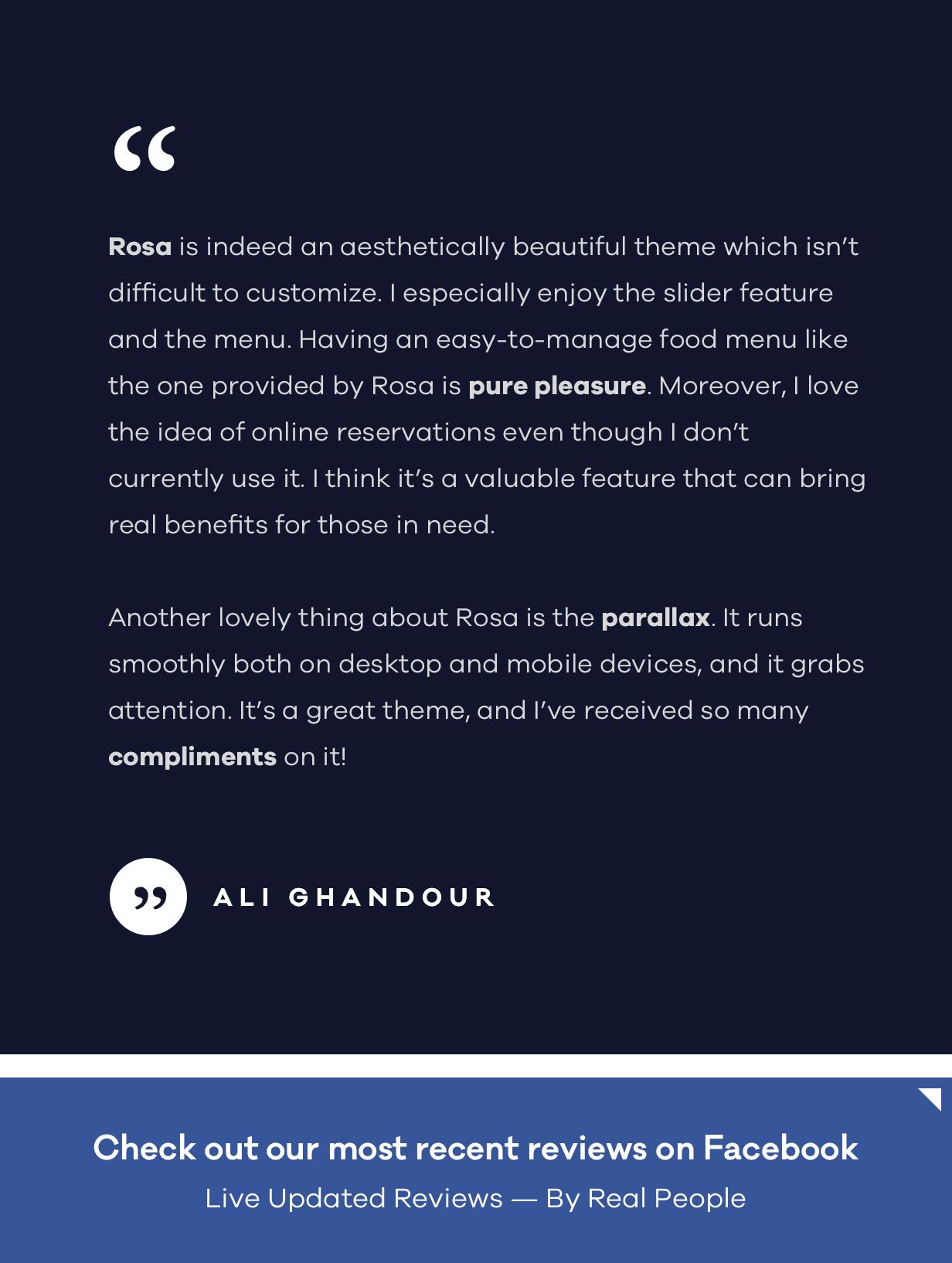 rosa testimonial - ROSA 1 - An Exquisite Restaurant WordPress Theme