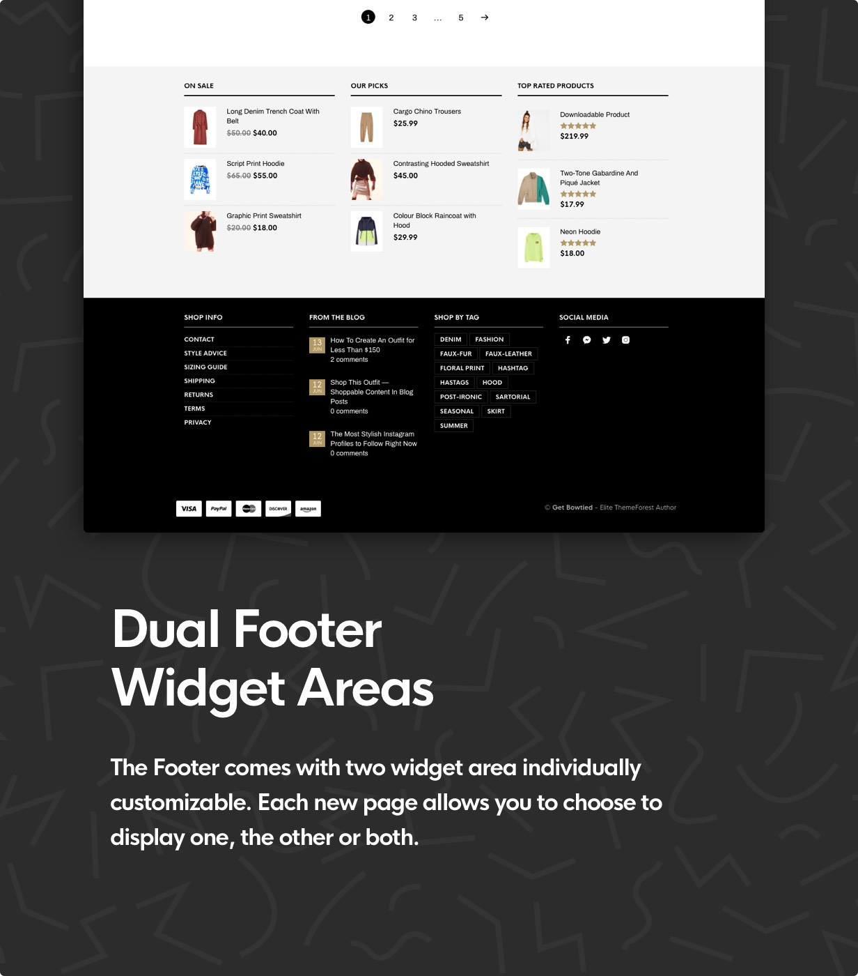 the retailer dual footer widget area - The Retailer - eCommerce WordPress Theme for WooCommerce