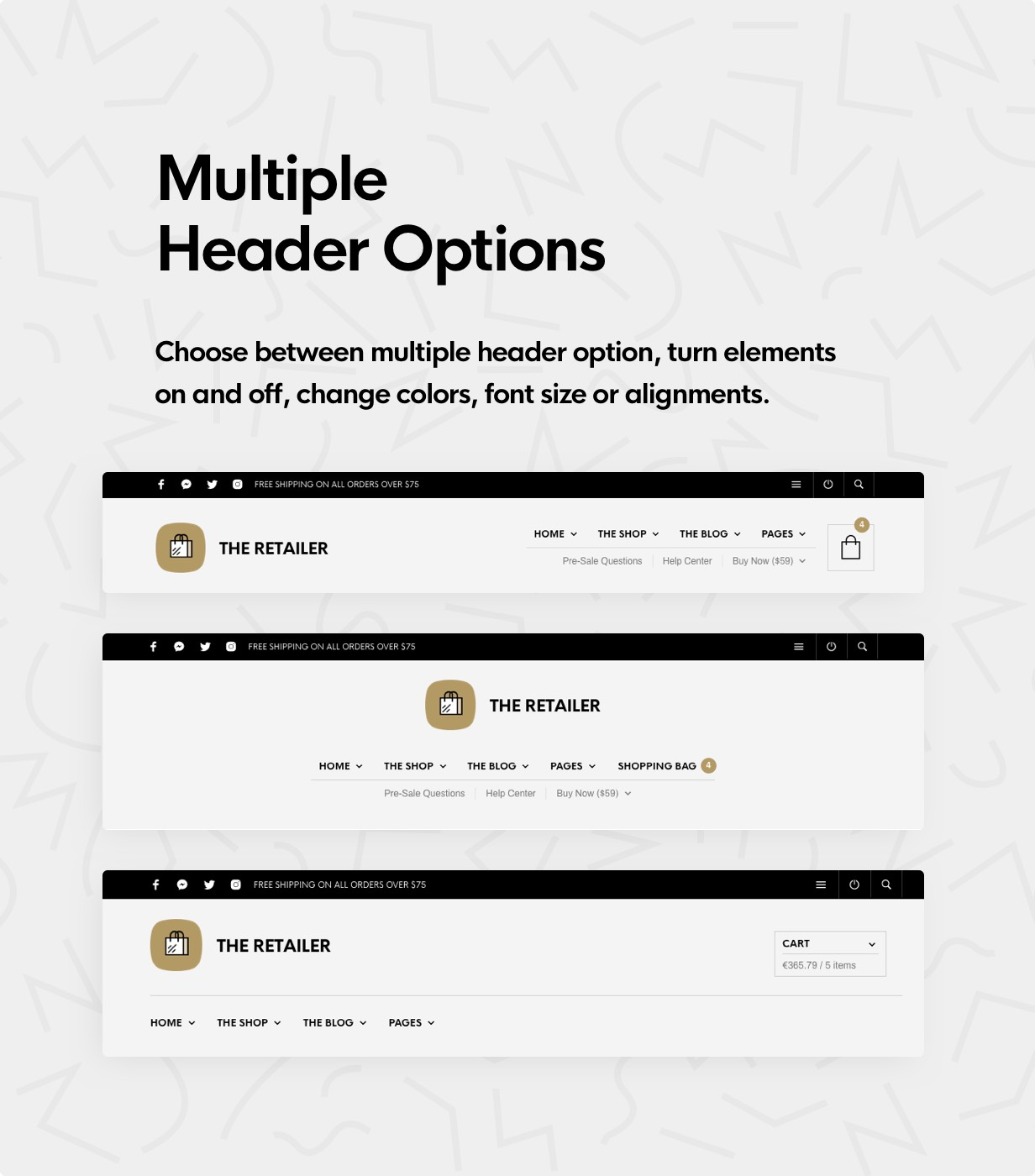 the retailer header options - The Retailer - eCommerce WordPress Theme for WooCommerce