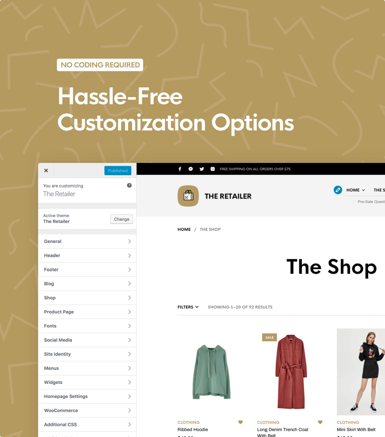the retailer theme customizer controls - The Retailer - eCommerce WordPress Theme for WooCommerce