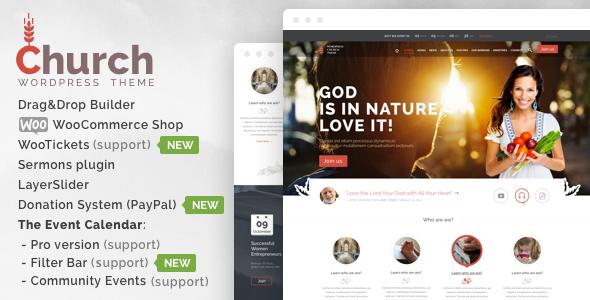 theme preview 1.  large preview - Church  - WordPress
