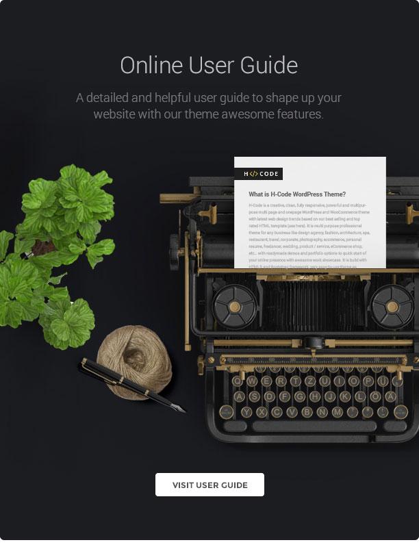 wp h code online user guide new - H-Code Responsive & Multipurpose WordPress Theme
