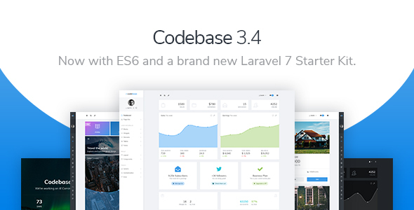 01 Preview Codebase.  large preview - Codebase - Bootstrap 4 Admin Dashboard Template & Laravel 7 Starter Kit