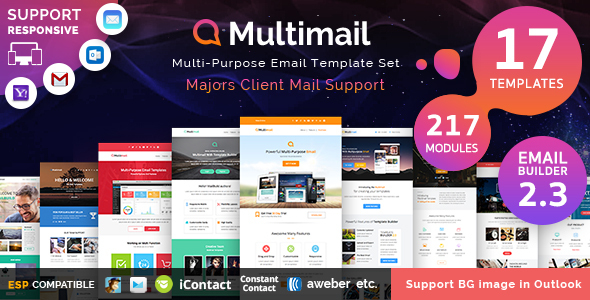 01 ThemePreview.  large preview - Multimail | Responsive Email Template Set + Builder Online