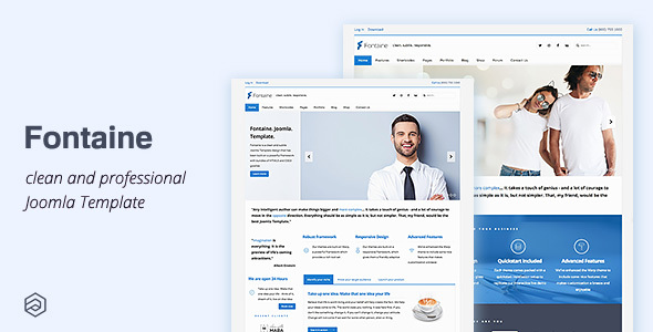 01 fontaine business joomla template.  large preview - Fontaine - Responsive Business Joomla Template