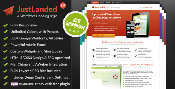 01 preview large preview.  large preview - JustLanded - WordPress Landing Page