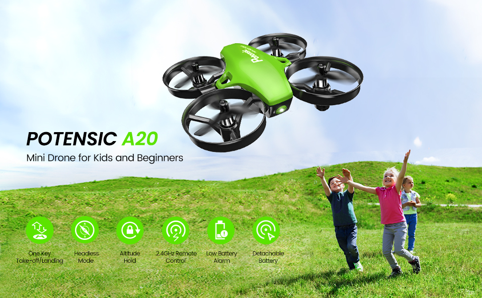 07ecee13 0048 44c9 9c16 39585ac34262.  CR0,0,970,600 PT0 SX970 V1    - Potensic Upgraded A20 Mini Drone Easy to Fly Drone for Kids and Beginners, RC Helicopter Quadcopter with Auto Hovering, Headless Mode, Remote Control and Extra Batteries - Green