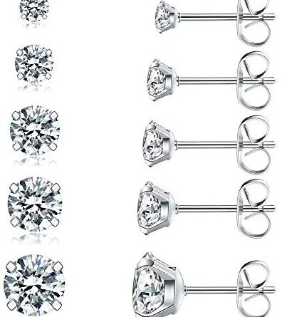 1599025652 41LdYefvi1L. AC  396x445 - 5 Pairs Stud Earrings Set, Hypoallergenic Cubic Zirconia 316L Earrings Stainless Steel CZ Earrings 3-8mm, Rose Gold …