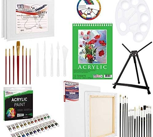 1599155529 51gmrFnl6 L. AC  498x445 - U.S Art Supply 60-Piece Deluxe Acrylic Painting Set with Aluminum Tabletop Easel, 24 Acrylic Colors, Acrylic Painting Pad, Stretched & Canvas Panels, Brushes & Palette Knives