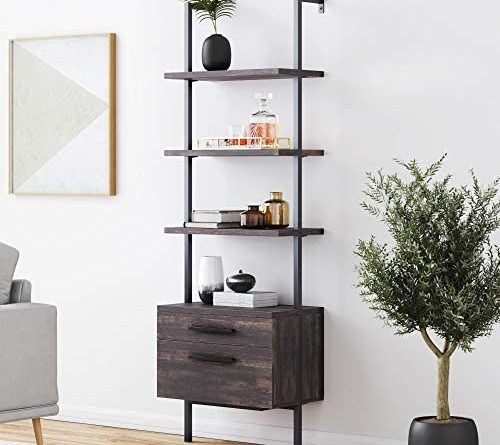 1600325670 51Fhh0XC0EL. AC  500x445 - Nathan James 65801 Theo Industrial Bookshelf with Wood Drawers and Matte Steel Frame, Warm Nutmeg/Black