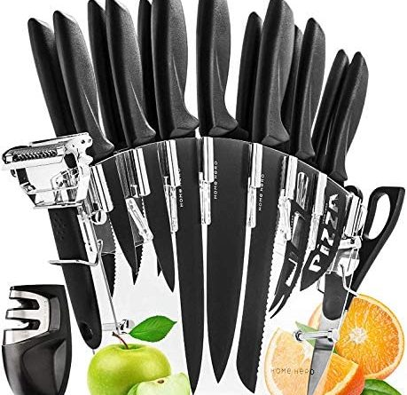1600586006 51v97JFOYmL. AC  459x445 - Stainless Steel Knife Set with Block 17 Piece Set Kitchen Knives Set Chef Knife Set with Knife Sharpener, 6 Steak Knives with Bonus Peeler Scissors Cheese Pizza Knife and Acrylic Stand by Home Hero