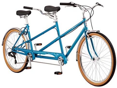 1600845813 51L 98OLr6L. AC  - Schwinn Twinn Classic Tandem Adult Beach Cruiser Bike, Double Seater, Steel Low Step Frame, 7-Speed, Medium or Large Frame Options