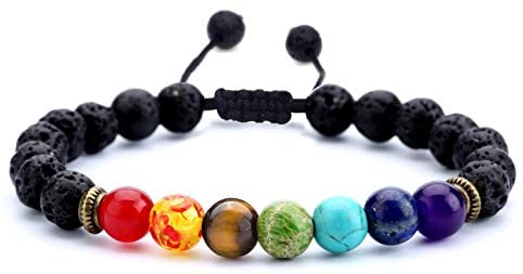 1601149020 41vPk8tuysL. AC  - Hamoery Men Women 8mm Lava Rock 7 Chakras Aromatherapy Essential Oil Diffuser Bracelet Braided Rope Natural Stone Yoga Beads Bracelet Bangle