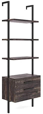 31hGEnvsi6L. AC  - Nathan James 65801 Theo Industrial Bookshelf with Wood Drawers and Matte Steel Frame, Warm Nutmeg/Black